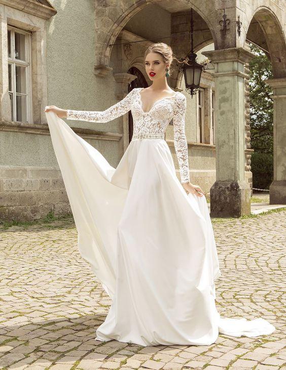 Rewelacyjny Suknie ślubne z długimi rękawami - na każdą porę roku HT08